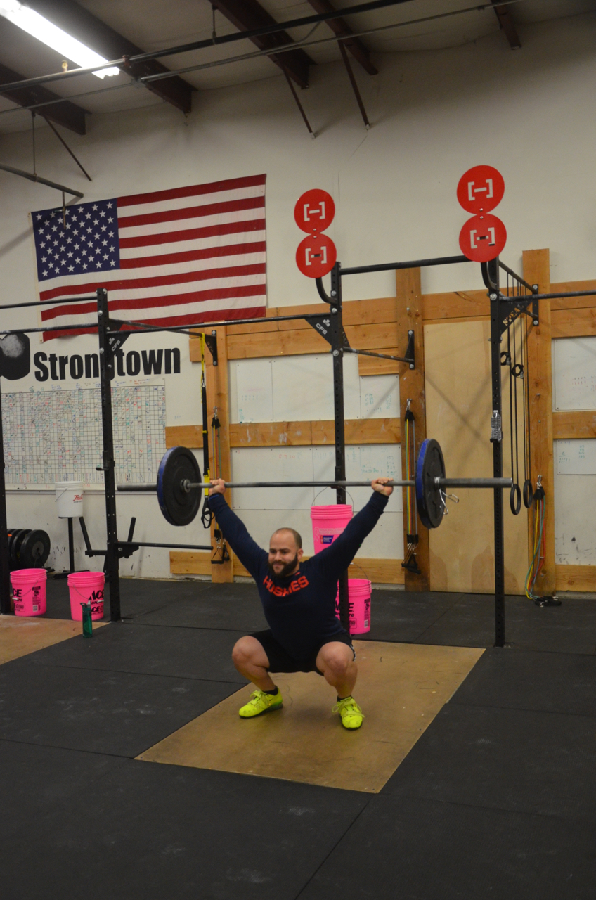 Stephen looking strong on his hang squat snatches.
