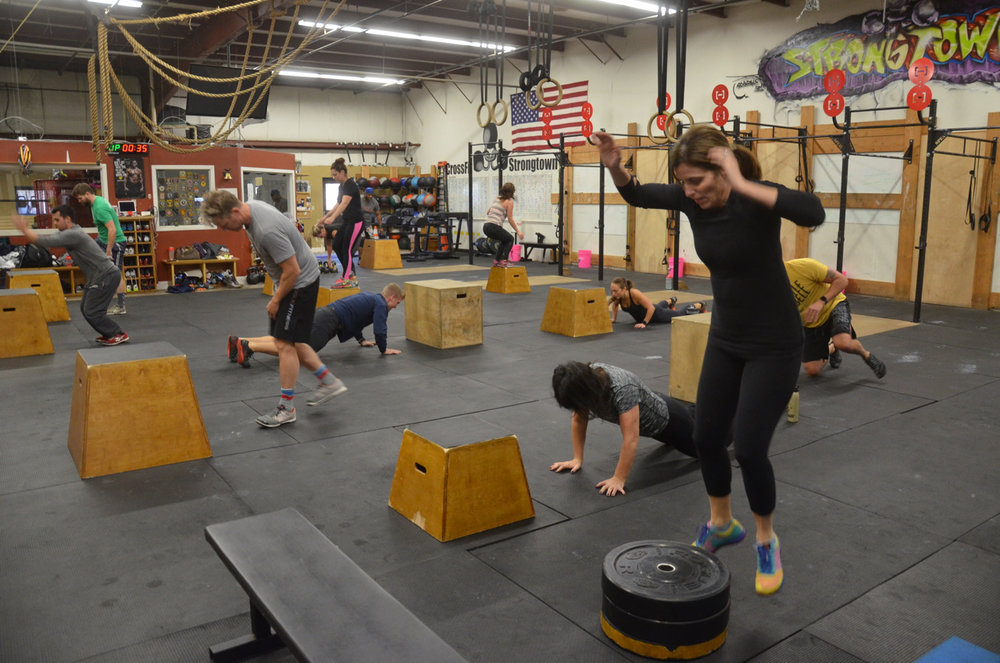 Susie Q and the 9:30 working through their burpee box-jumps.