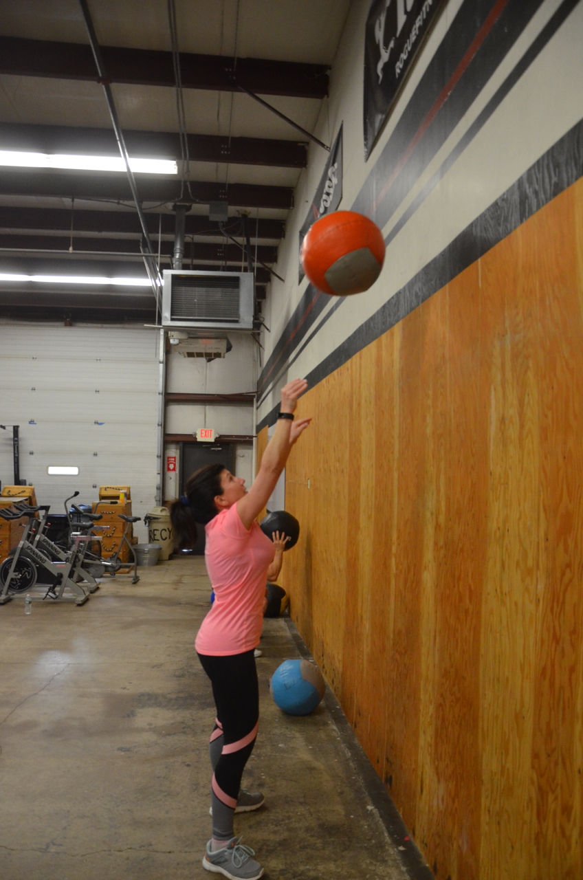 Robin looking strong on her wall ball!