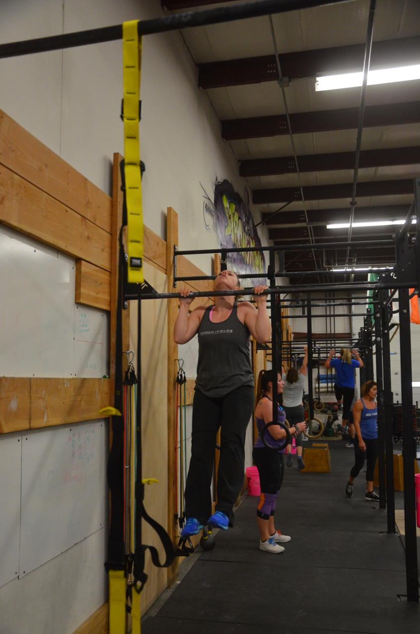 Courtney doing a great job of getting her chin over the bar.