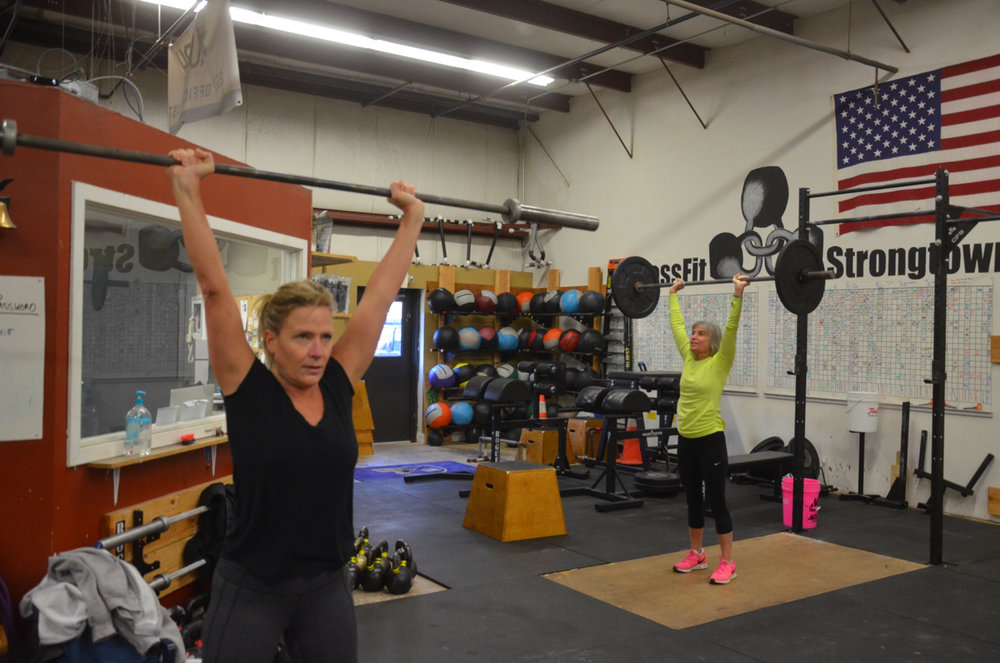 Kristie and her Mom Cathy finishing the workout together.