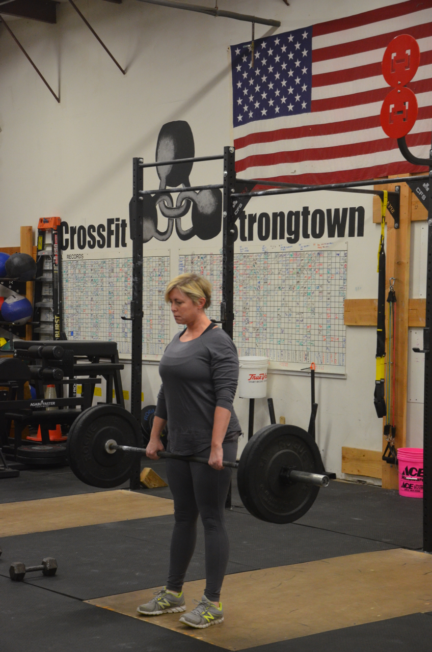 Tina showing a solid lockout on her deadlifts.