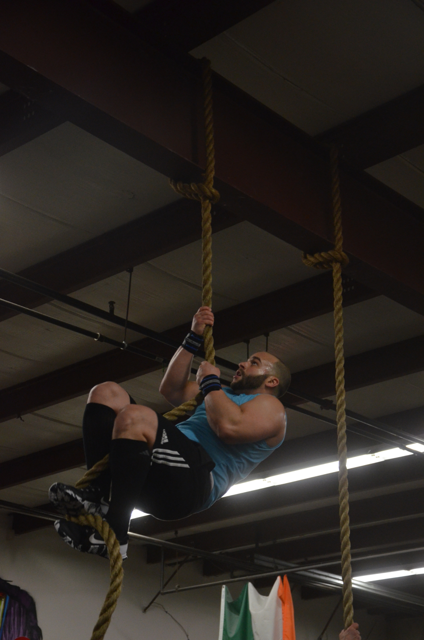 Stephen looking strong on his rope climbs.