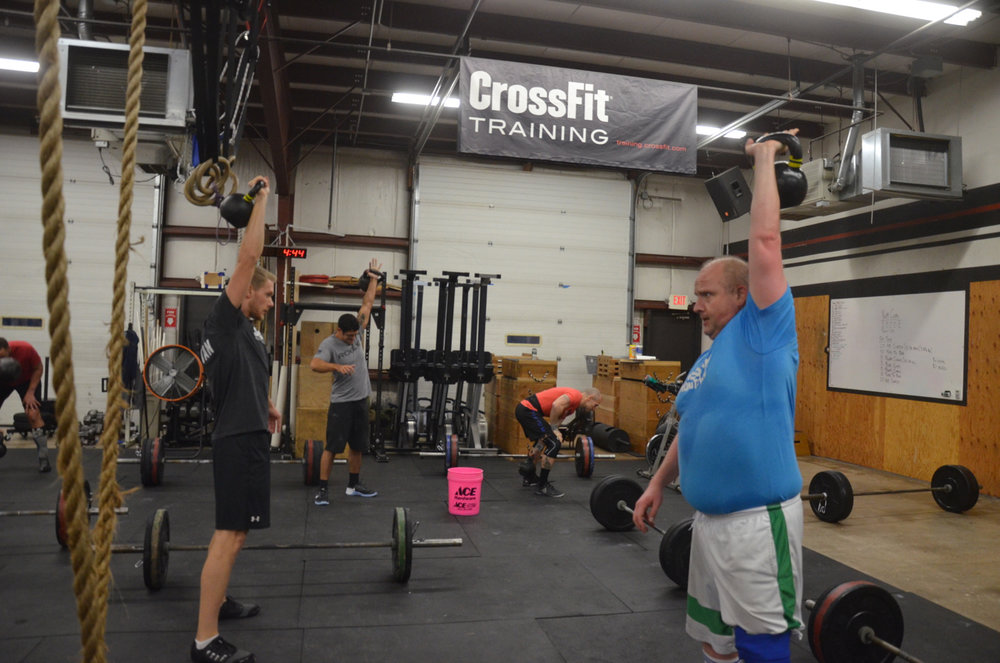 David and Friday's 5:30 during their Kettlebell Snatches.