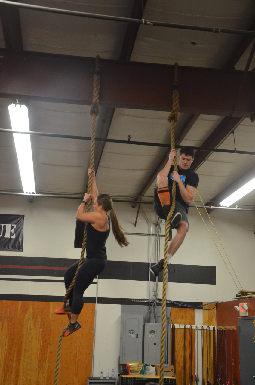 Rachel and Brian making their way up the rope.