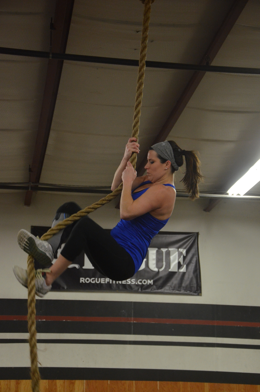 Jen finding her feet on the rope.