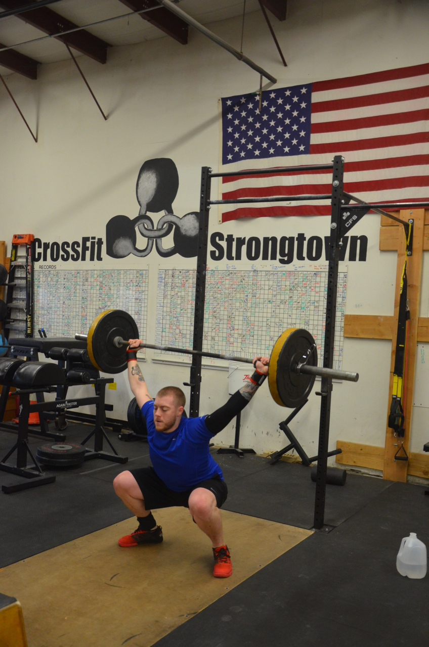 Kevin getting looking solid on his overhead squats.