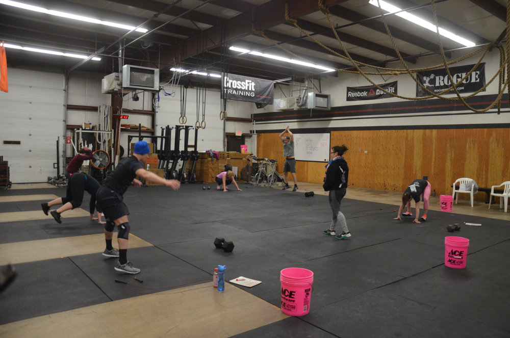 The 6pm class starting their 6 burpees.