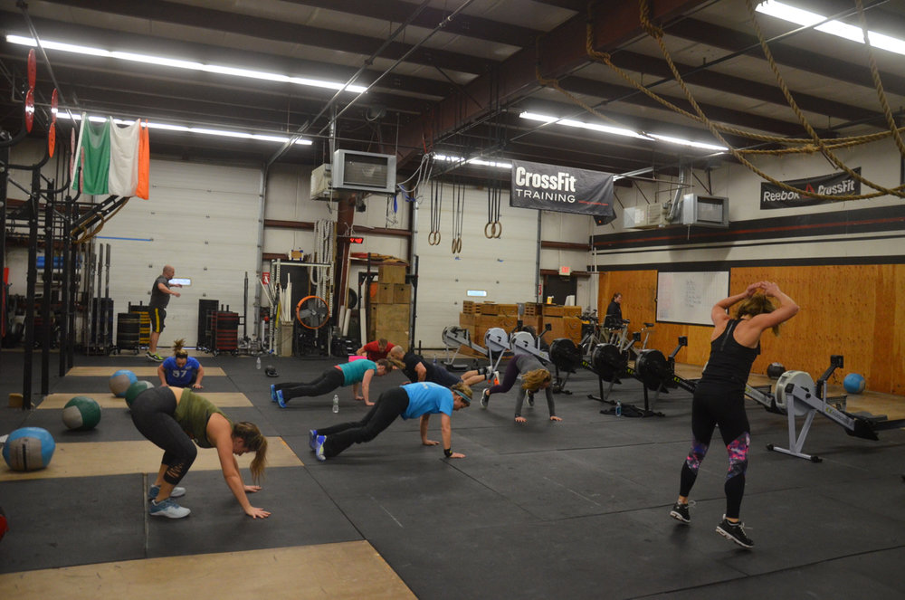 The 4pm class finishing up their 25 burpees...aka 'The Tammy'