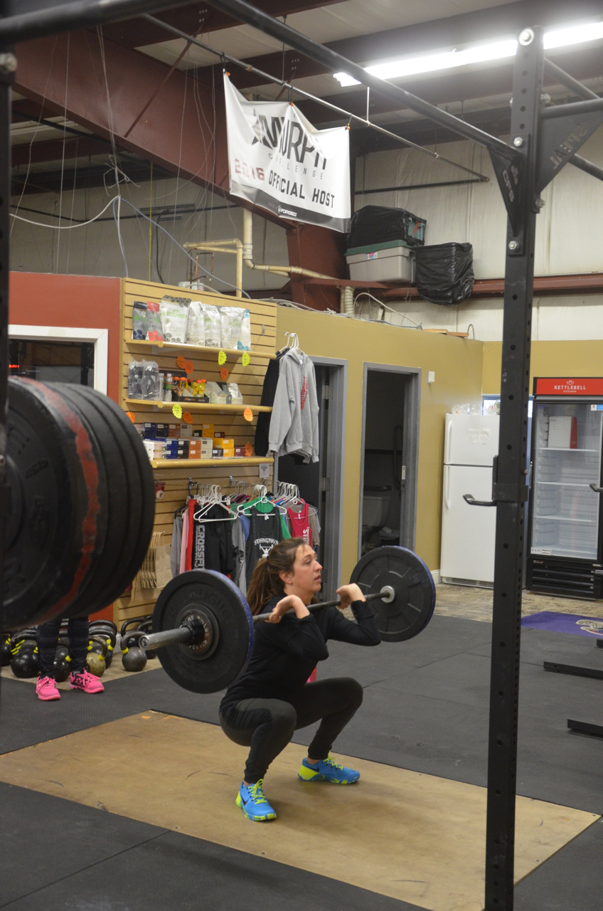 Lindsey getting deep in her front squat.