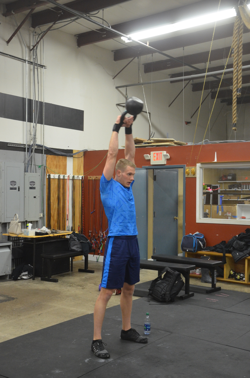 Tanner getting some extension on his kettlebell swings.