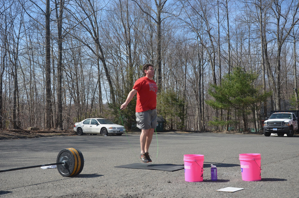 Barry enjoying a little double unders and sun.