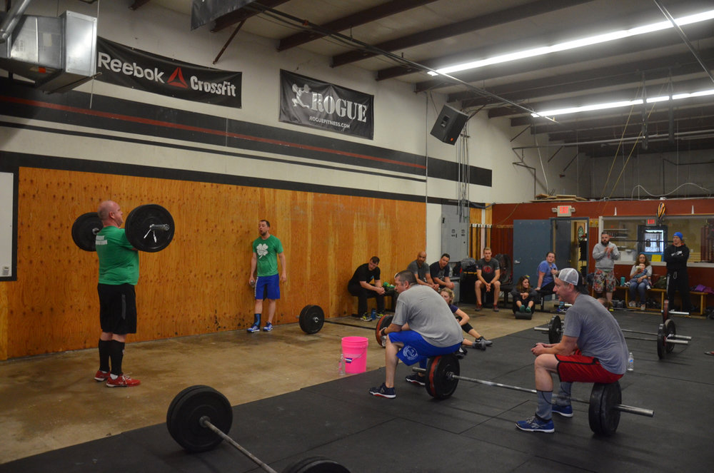 David finishing up his final power cleans.