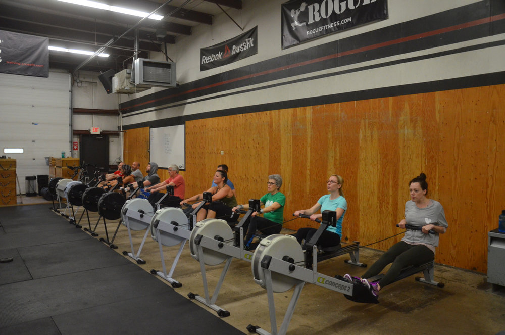 The 9:30 class starting their 1,000m row.