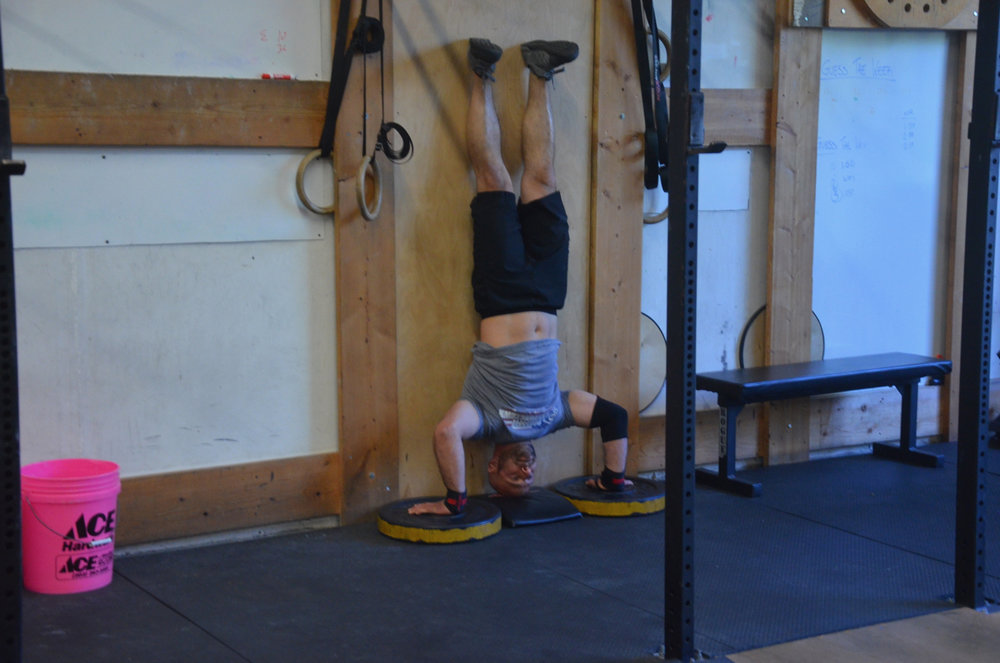 Brian looking strong on his handstand push-ups
