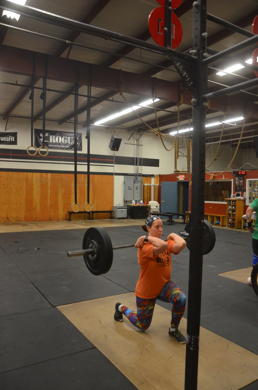 Laura showing great elbows through her barbell lunges.