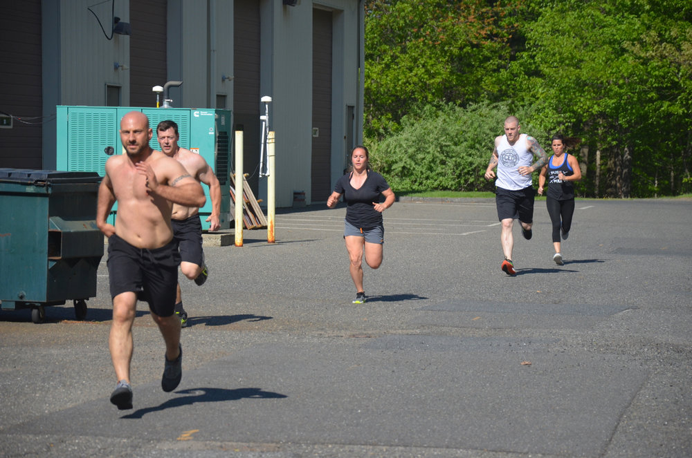 Brian and the 4pm class during their 200m run.