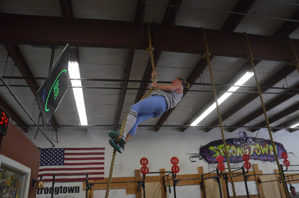 Linda making easy work of her rope climbs.