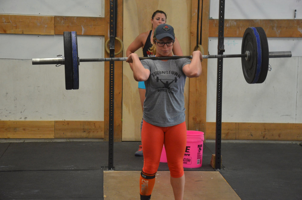 Jordan and Rachie getting some quality time with the barbell during Sunday's max Touch & Go power cleans.