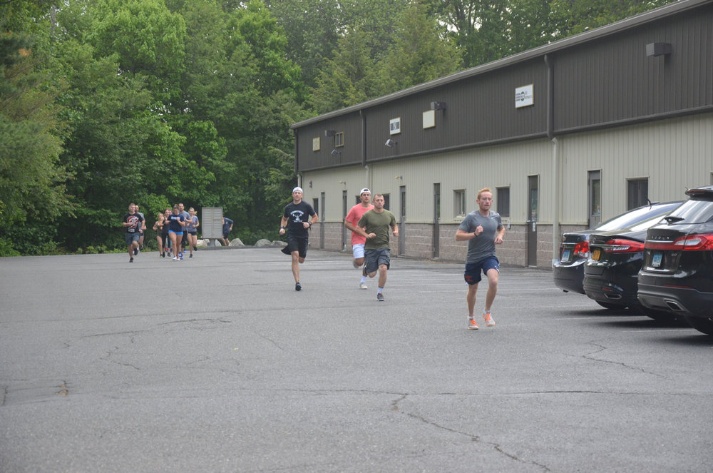 Chris and Saturday's 9am class heading out for their 400m run.