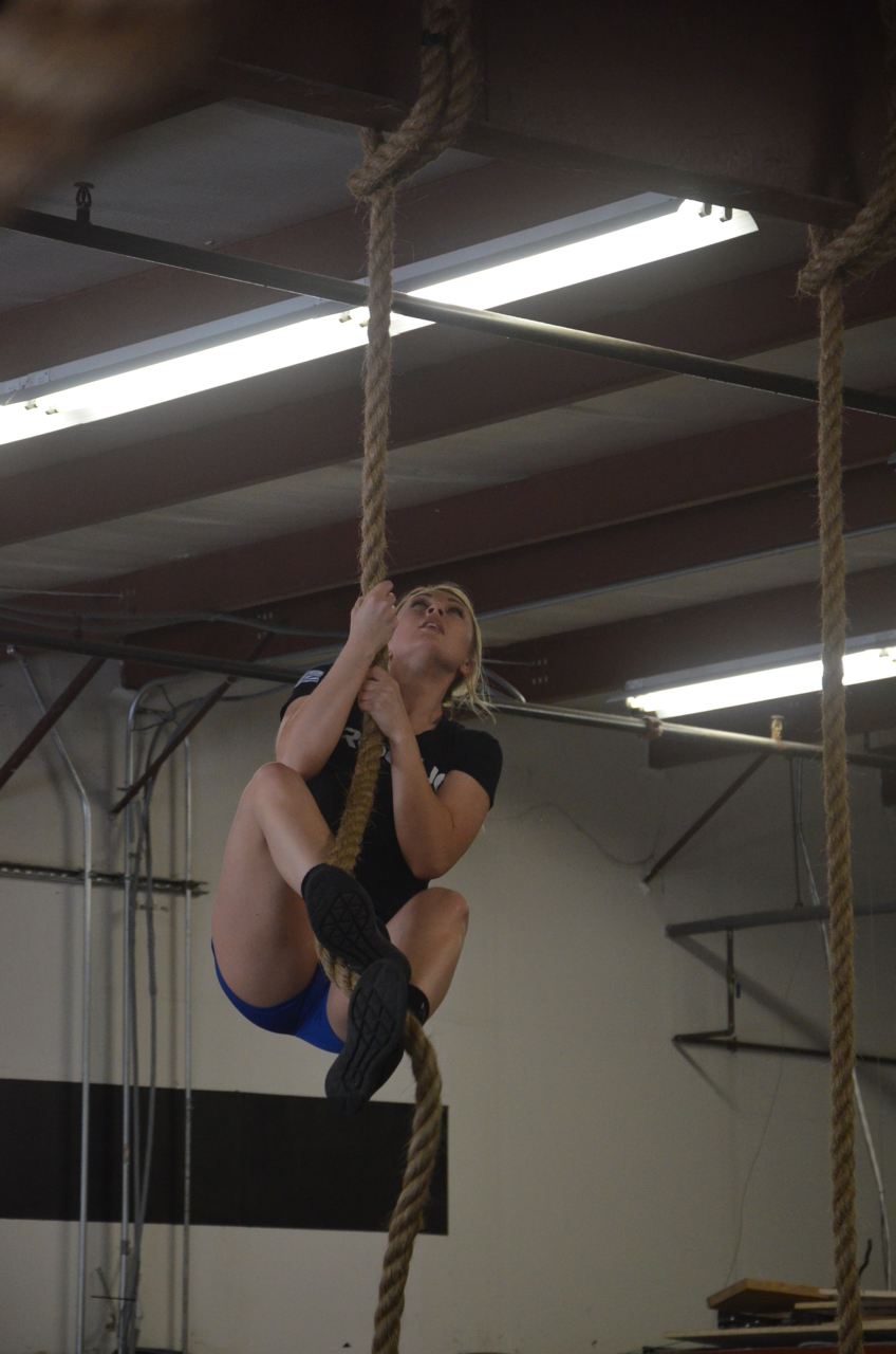 Cortney making her way up the rope.