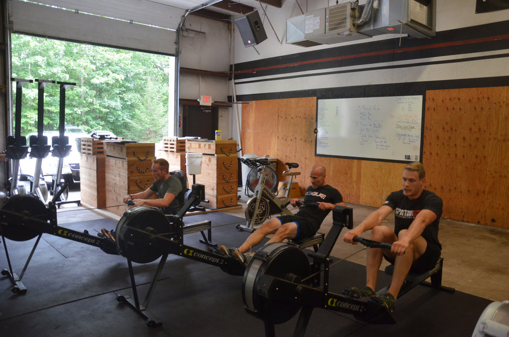 Chris, Lou, and Tanner putting up some impressive times on their run-row-run-row-run-row.