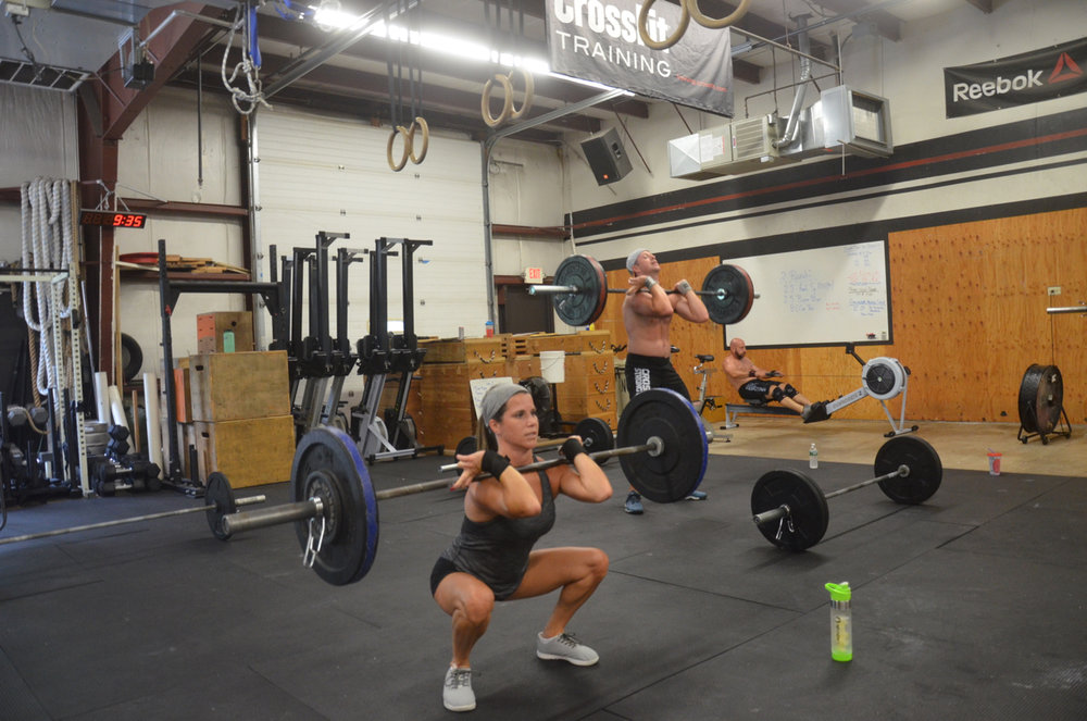 Jen looking strong on her front squats.
