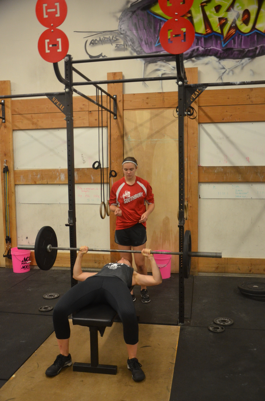 Karen and Molly getting in their Friday Mother & Daughter bench press time.