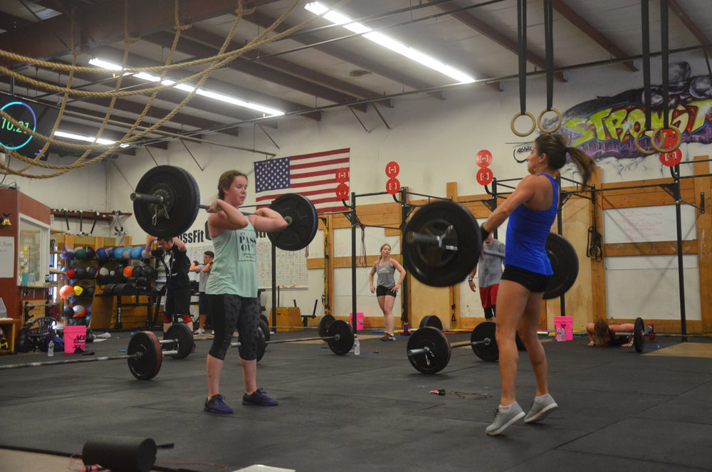 Aisling and Jen looking strong on their power cleans.
