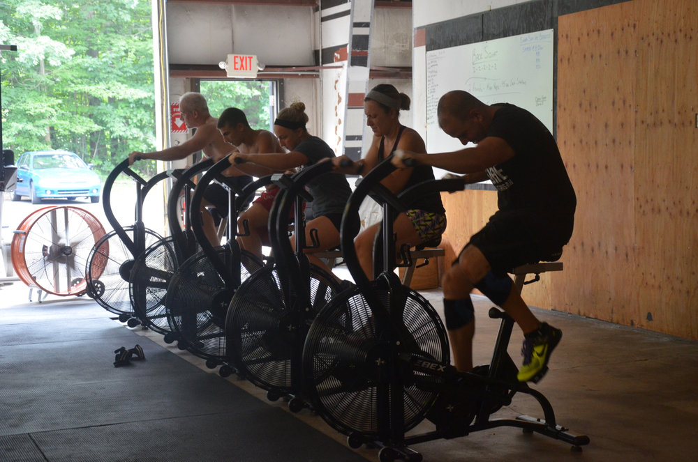 The noon class starting their 45 second bike station.
