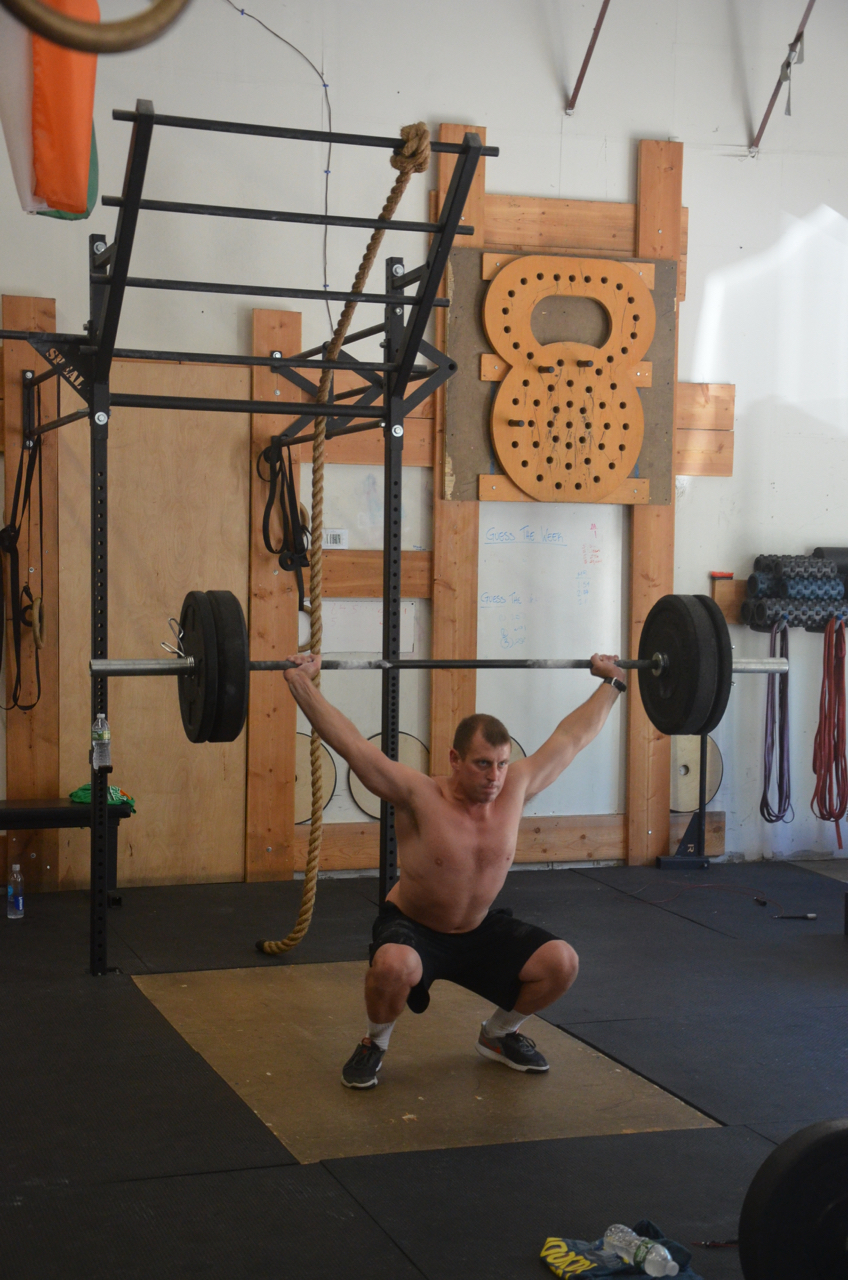 Garrett going Games weight for Saturday's Rope Climb, Double Under, Overhead Squat triplet.