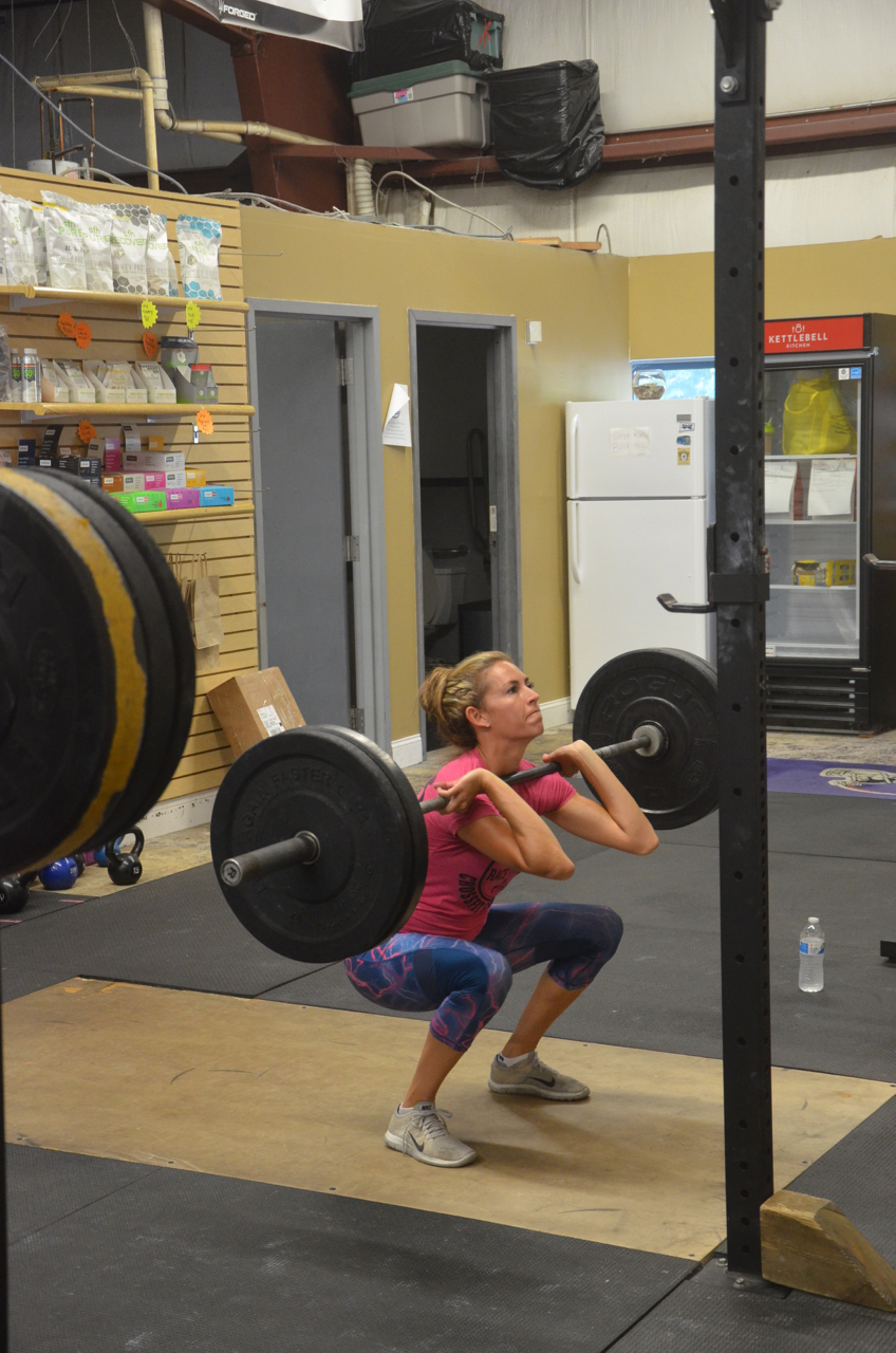 Danielle showing great elbows on her front squats.