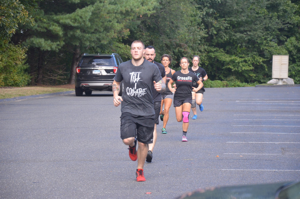 Kevin leading the 600m run during Friday's 4pm class.