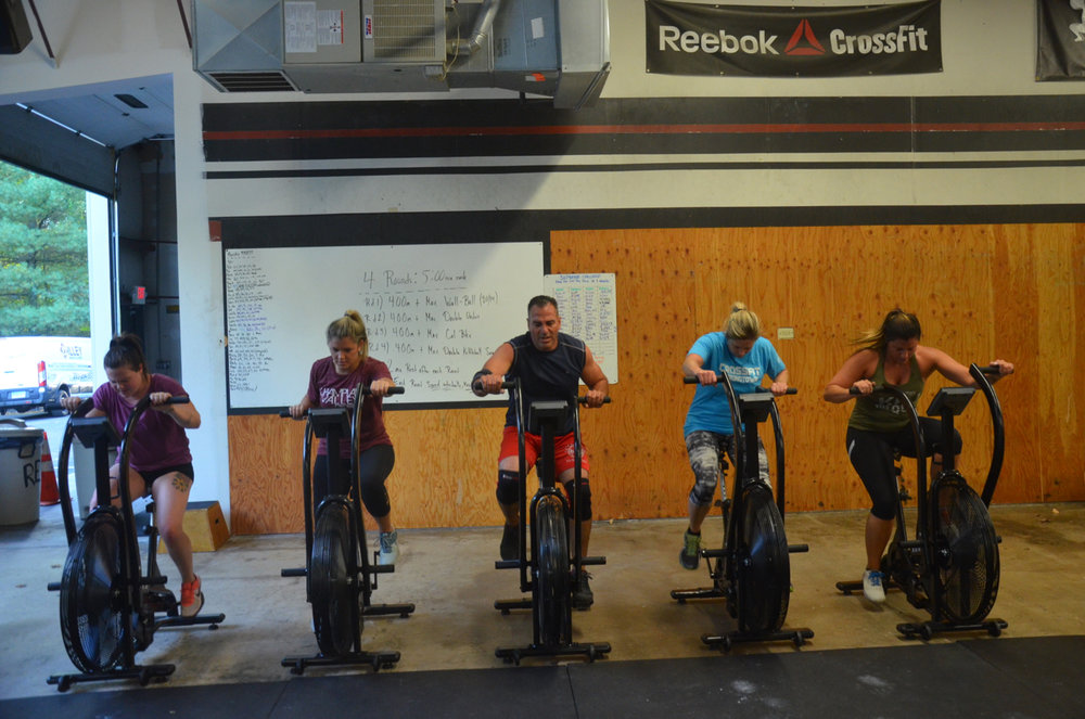5pm ladies and Rob enjoying the Xebex fitness bike.
