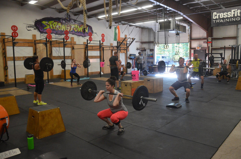 Kathleen and the 9:30am class during the front squat portion of the workout.