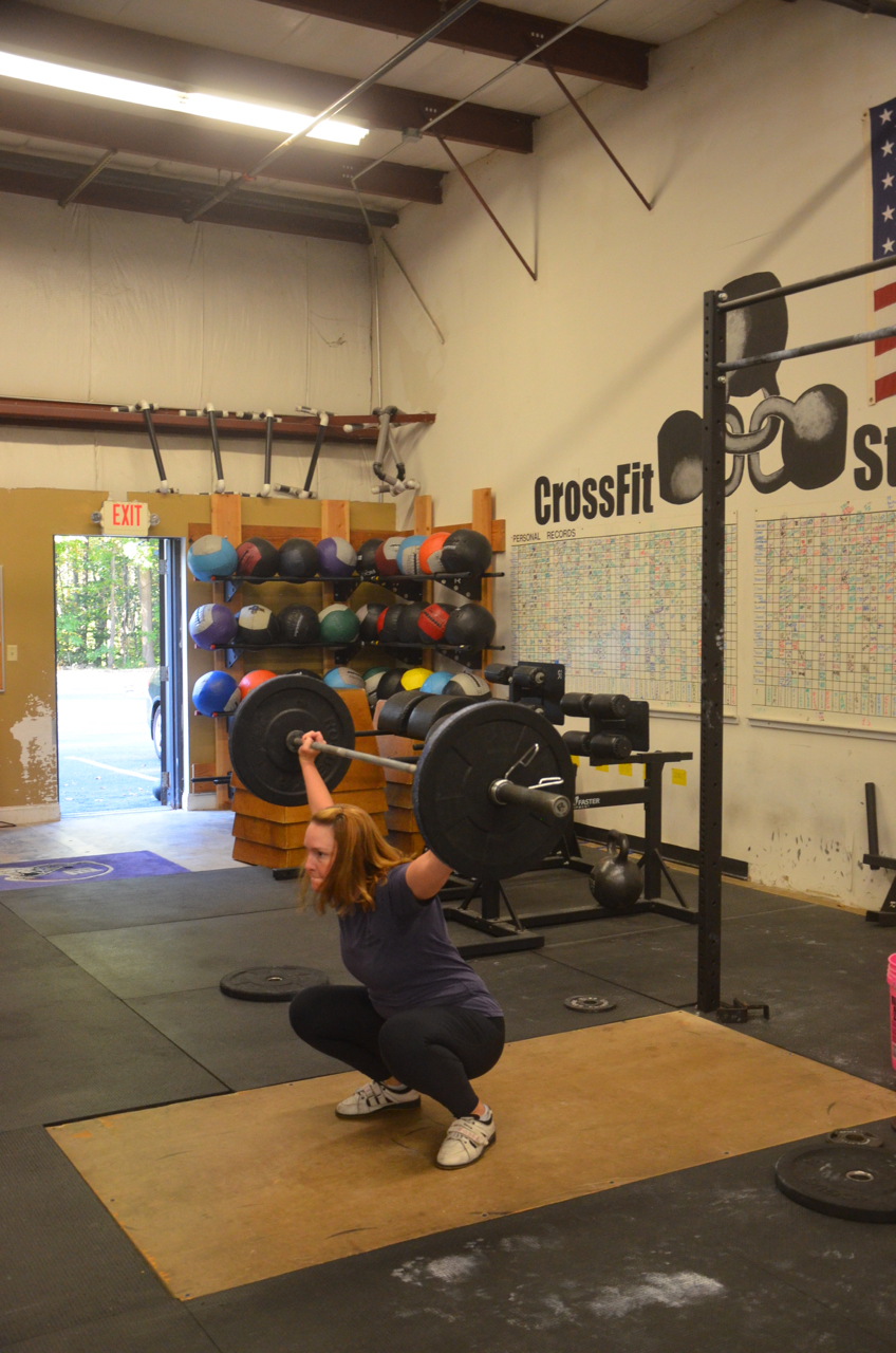 Becky getting deep in her squat snatch.