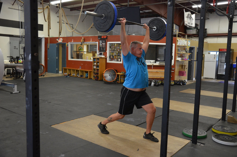 Gerry showing a solid catch on his split jerk.