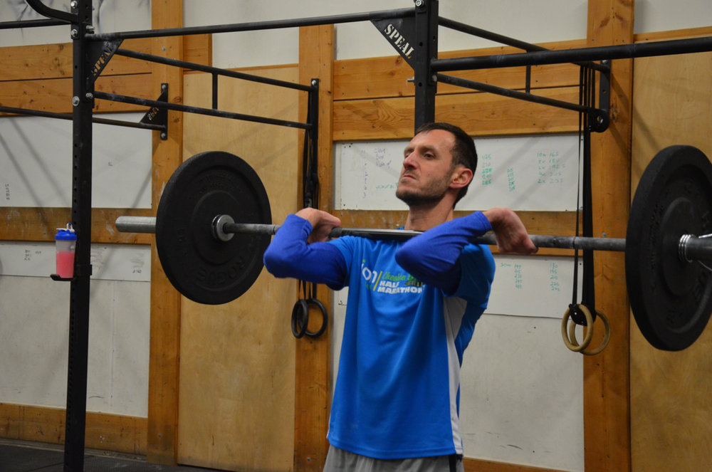 Jeff showing a great elbow position on his power cleans.
