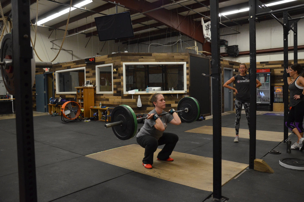 Courtney warming up for her 5 rep max front squat.