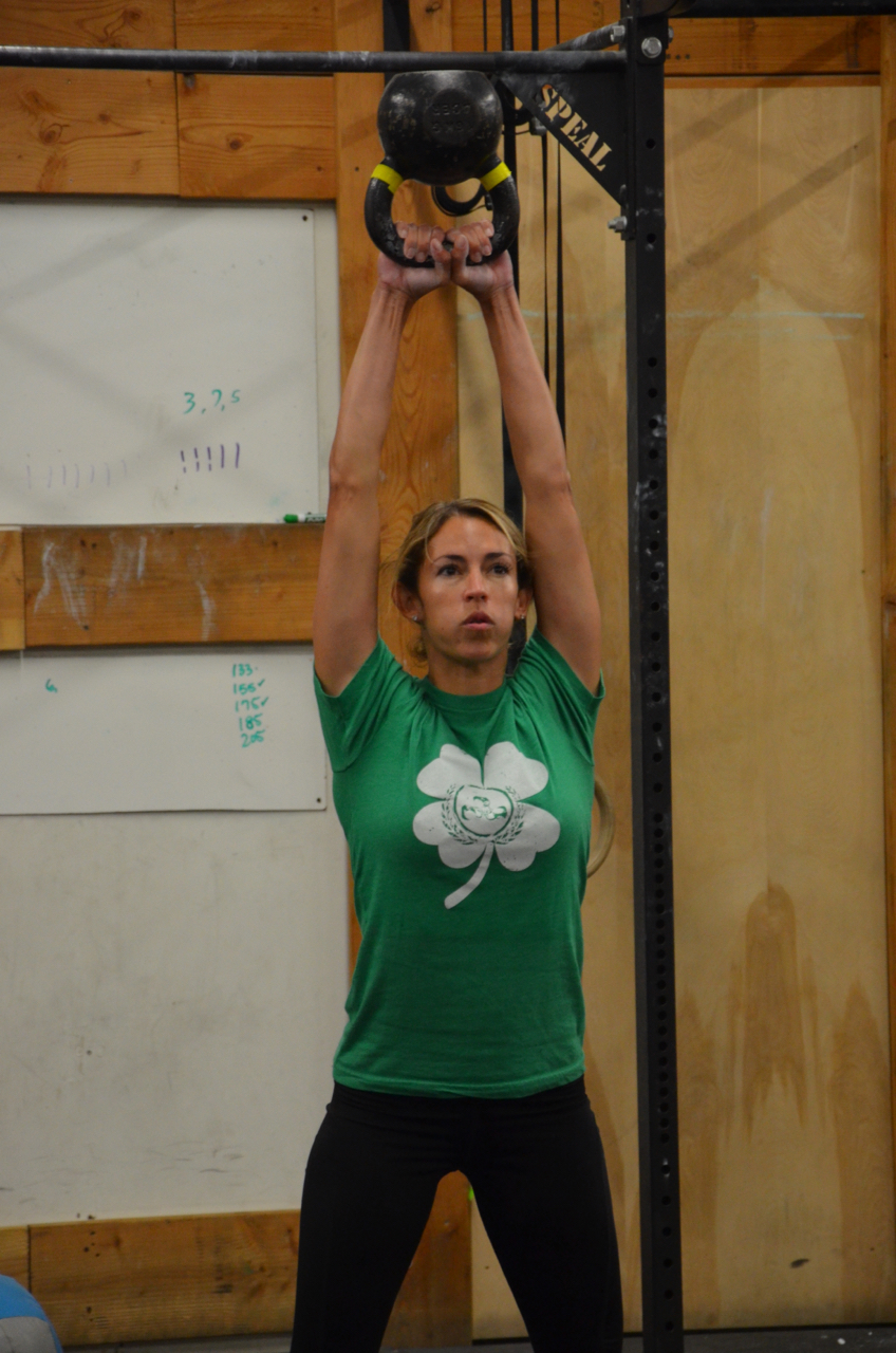Danielle showing a solid lock out on the kettlebell swings.