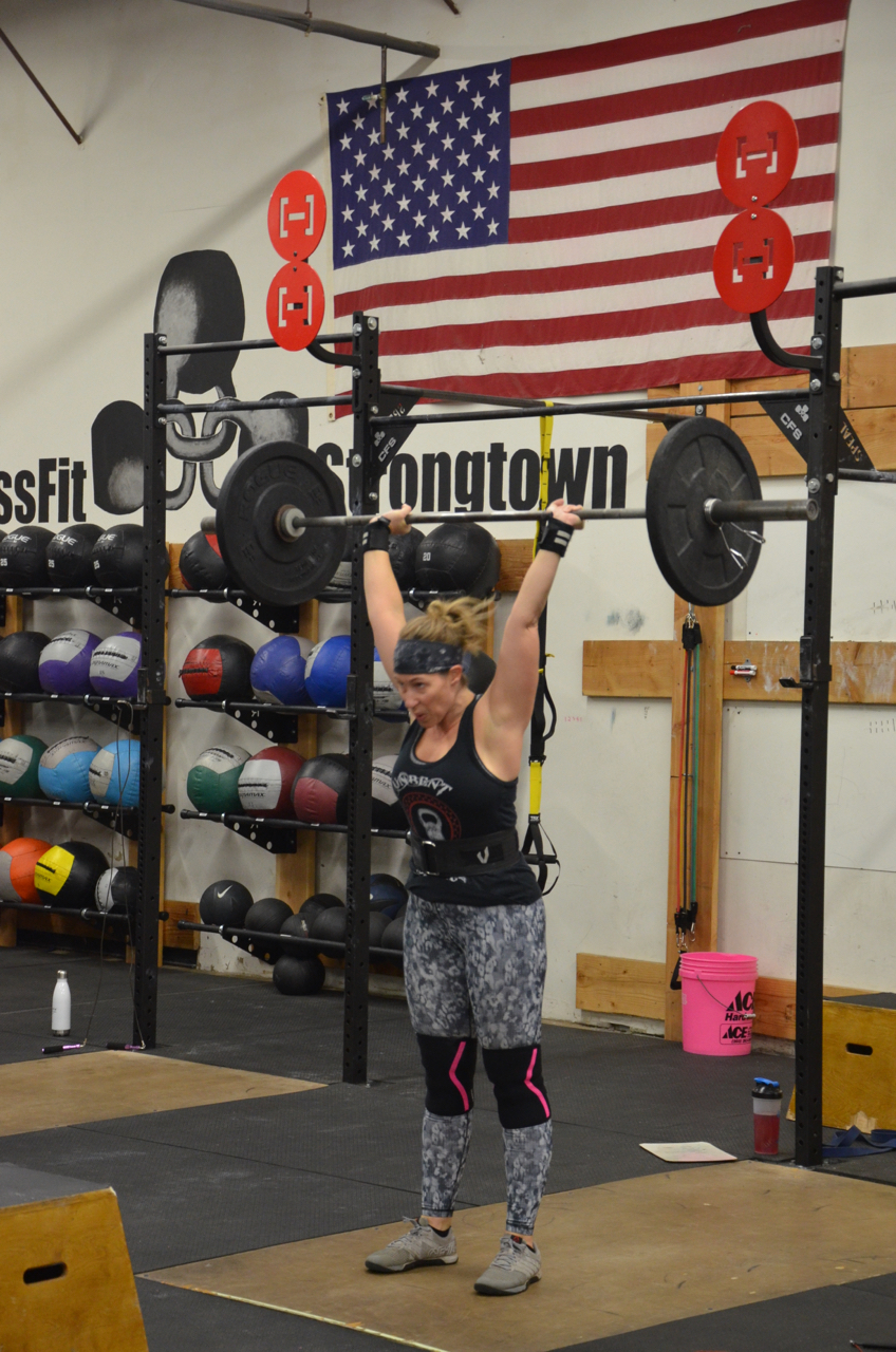 Tracey showing a good lock out on her push-press.