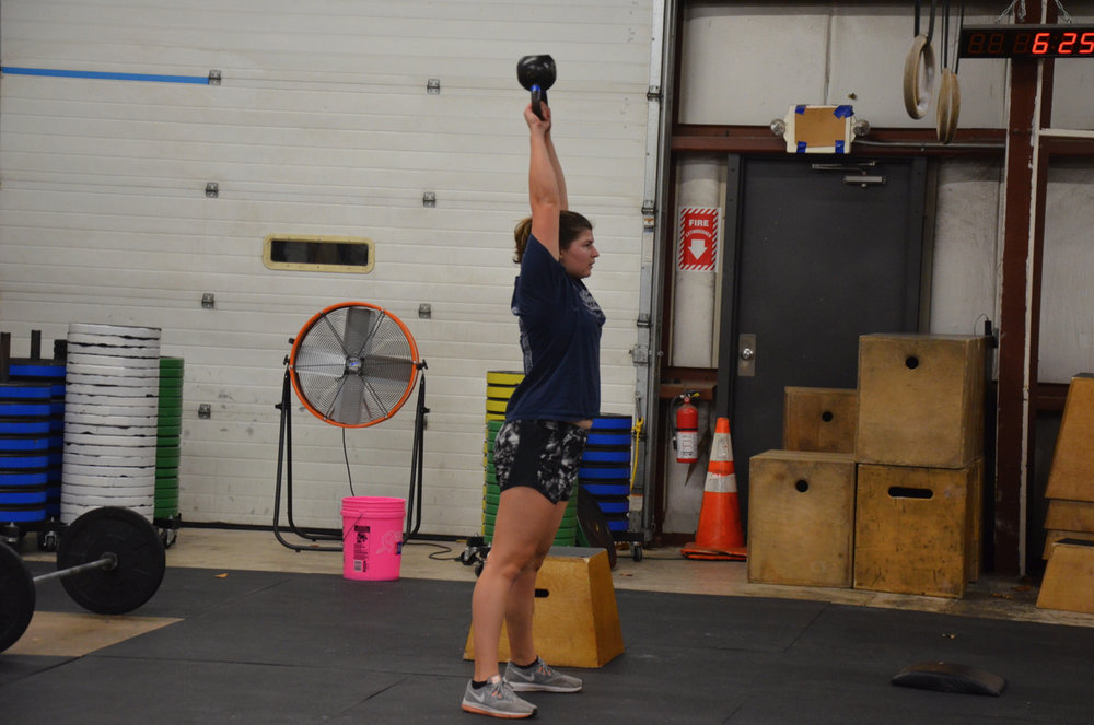 Carrie showing great form during her kettlebell swings.
