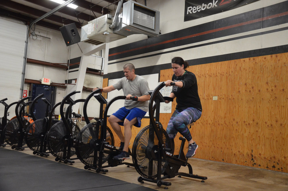 Chris and Meagan working through their 500 meters on the Xebex fitness bike.