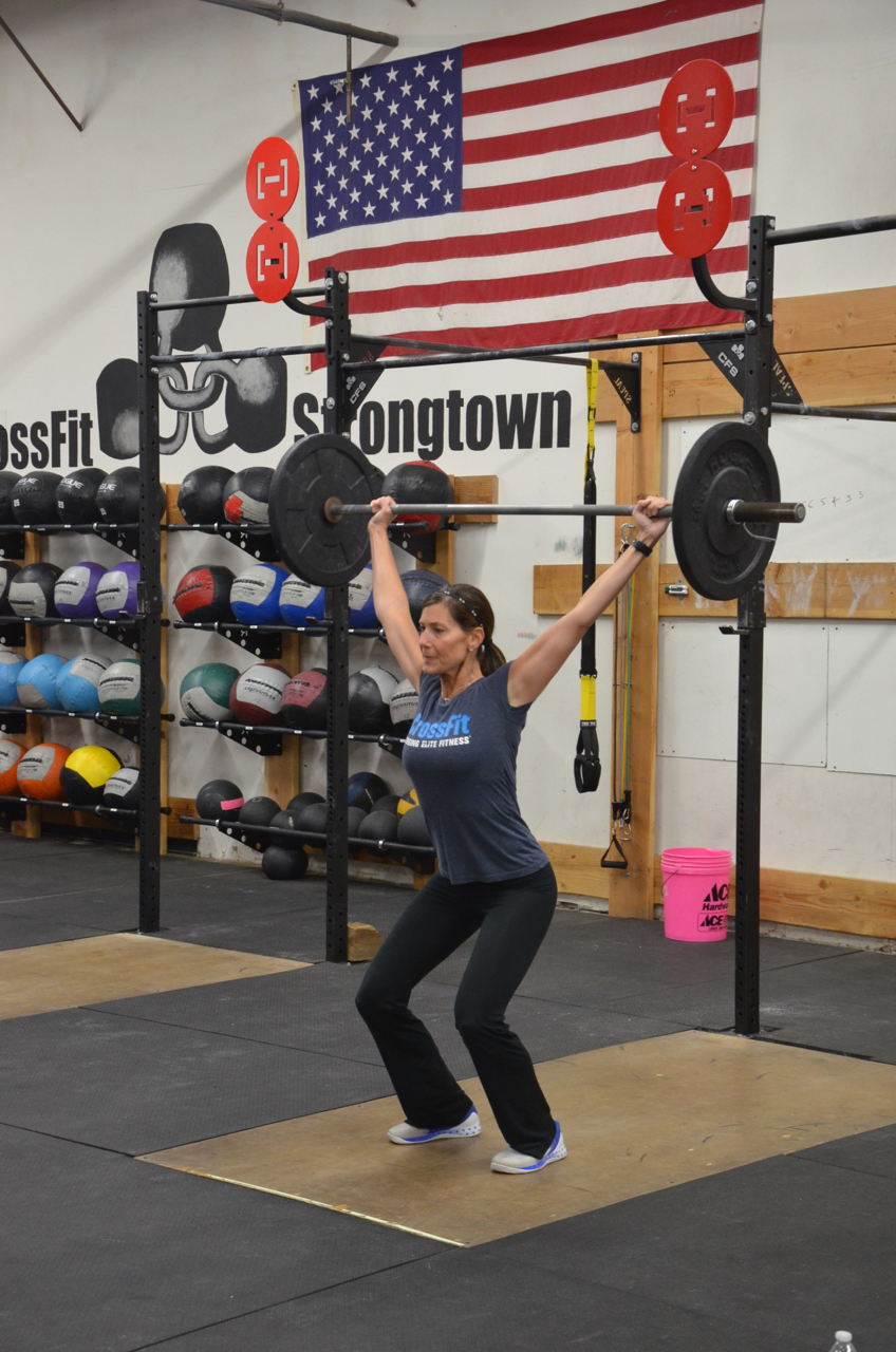 Sharon showing a great catch position on the power snatch.