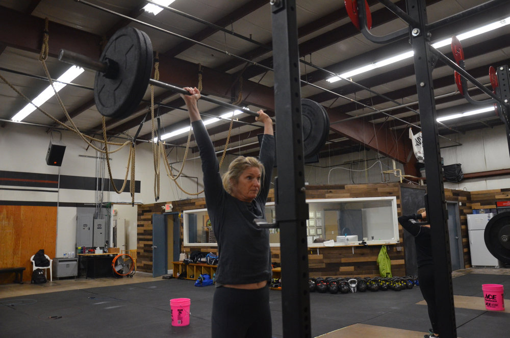 Hope showing a great lock out on her push-press.