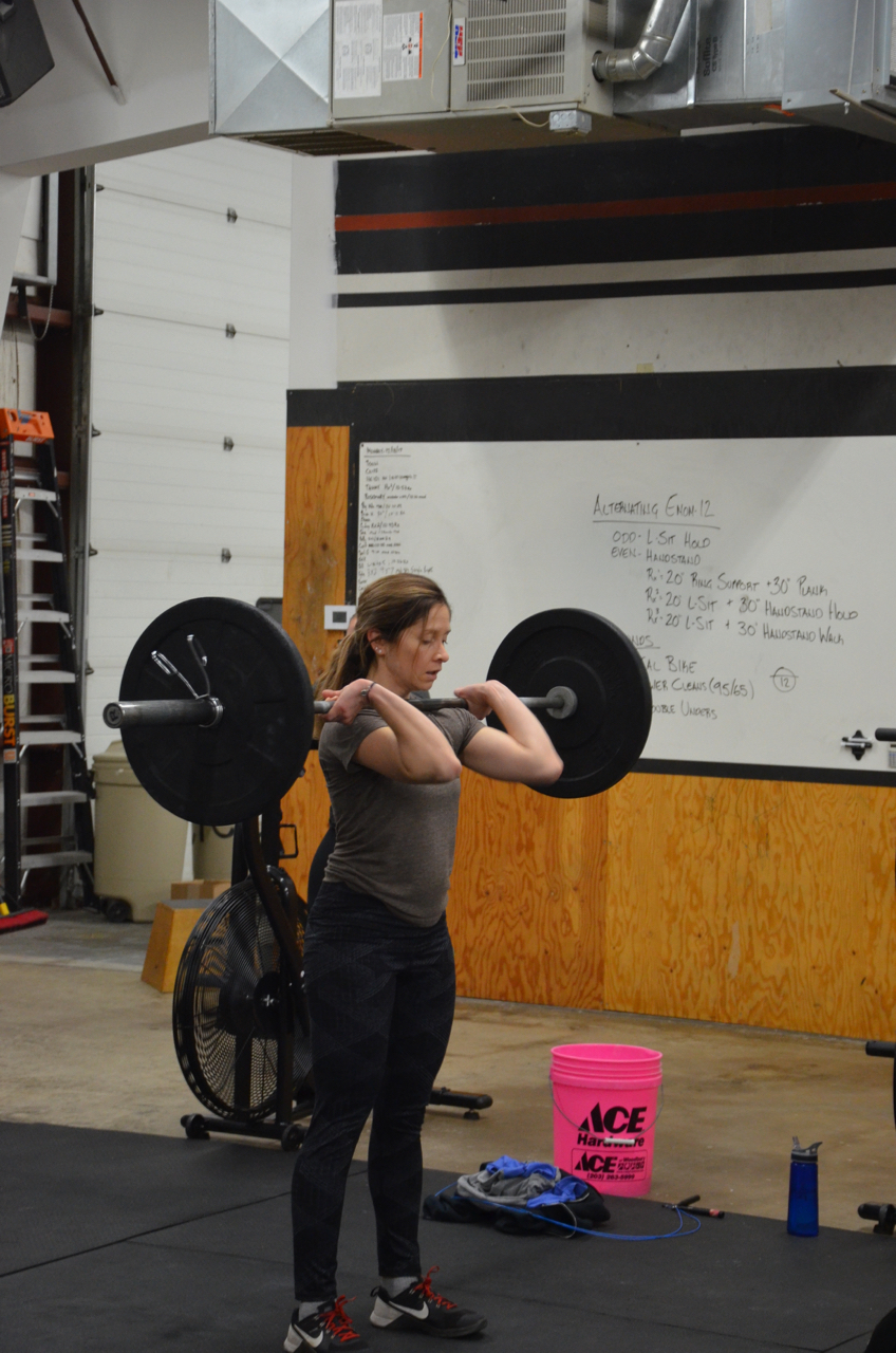 Sophia making sure to get her elbows around the bar for her power cleans.