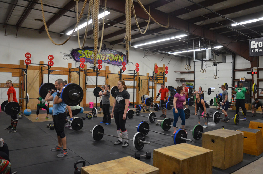 Full house on Christmas Eve for the 12 days of CrossFit Strongtown.