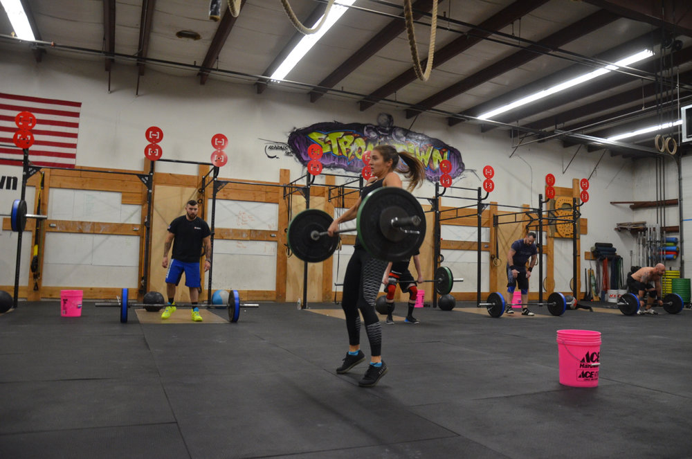 Kat showing a great triple extension on her power cleans.