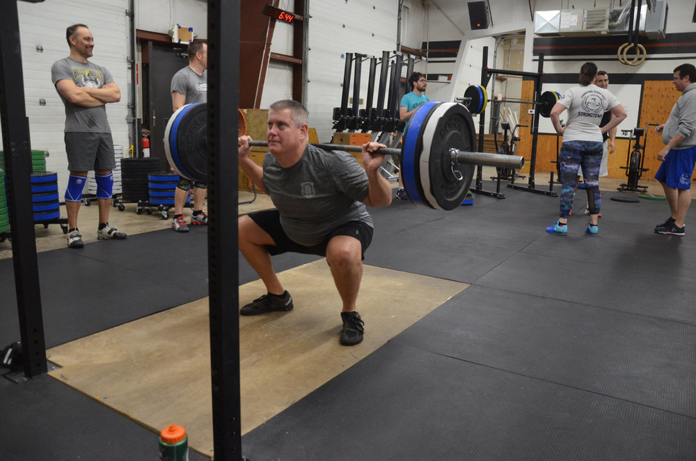 Gerry looking solid on his back squats after the AMRAP.