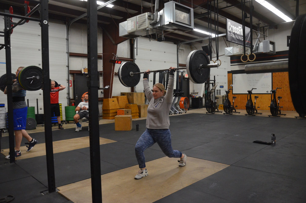 Dani showing a good lock out during her split jerk.